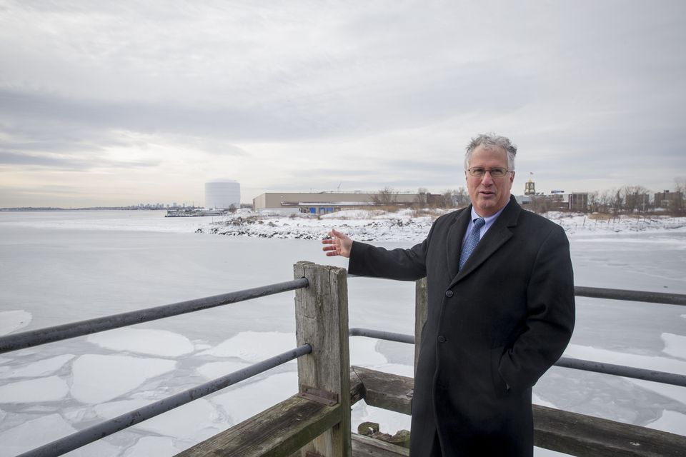 Lynn Mayor Thomas McGee at a vacant lot on the Lynnway that will become the North Harbor apartments.