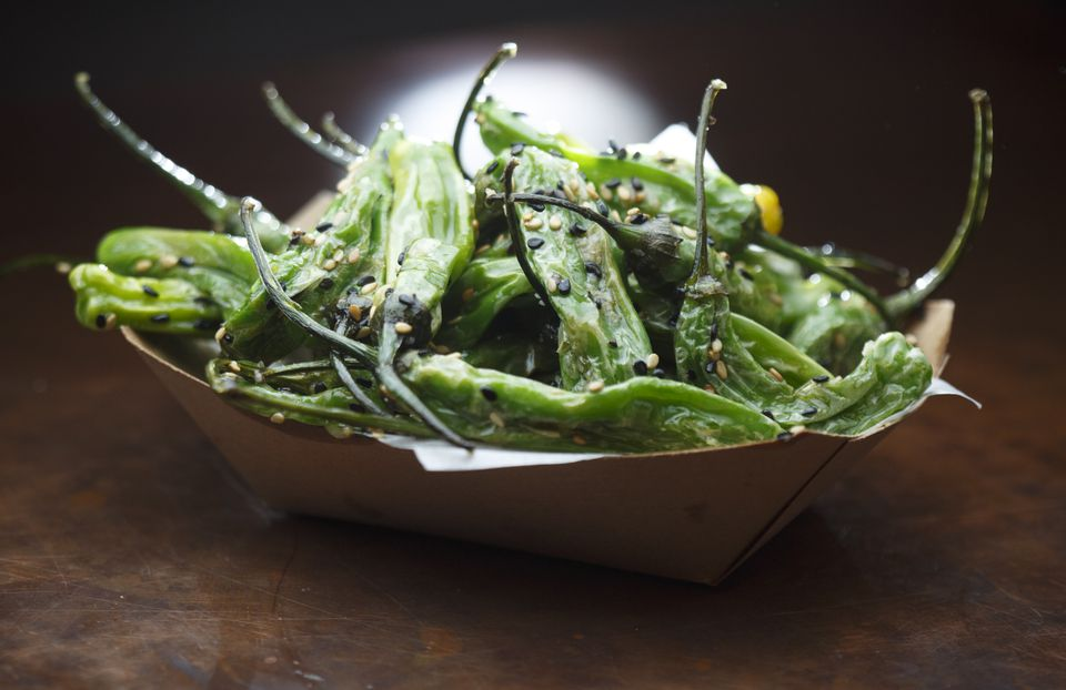 Sesame shishitos at carnivore-friendly, meatless Whole Heart Provisions.