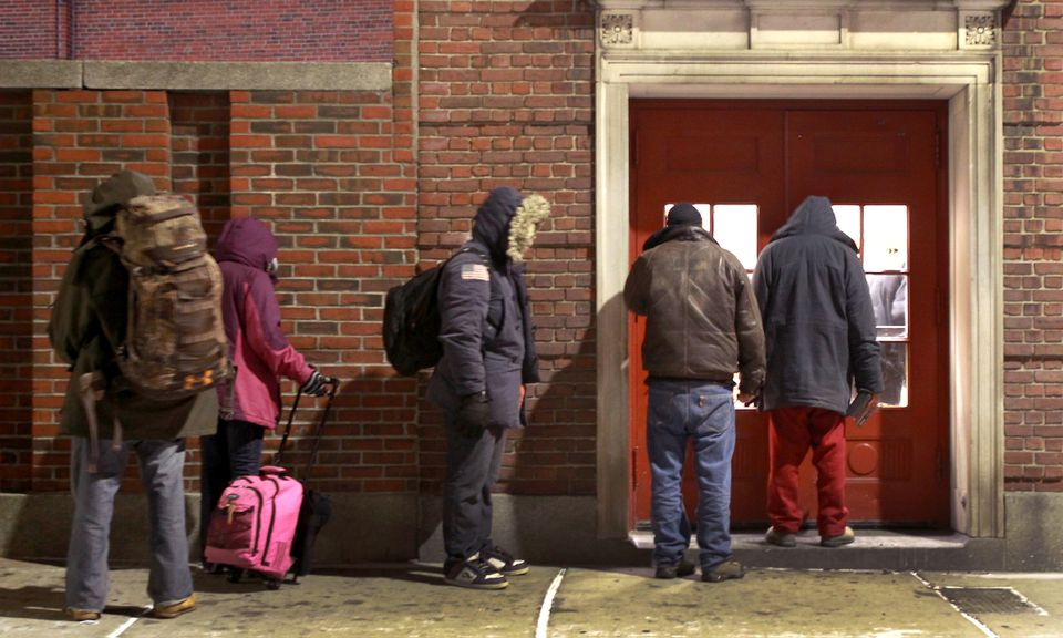 Homeless people waited to be admitted to the Boston Night Center last January.