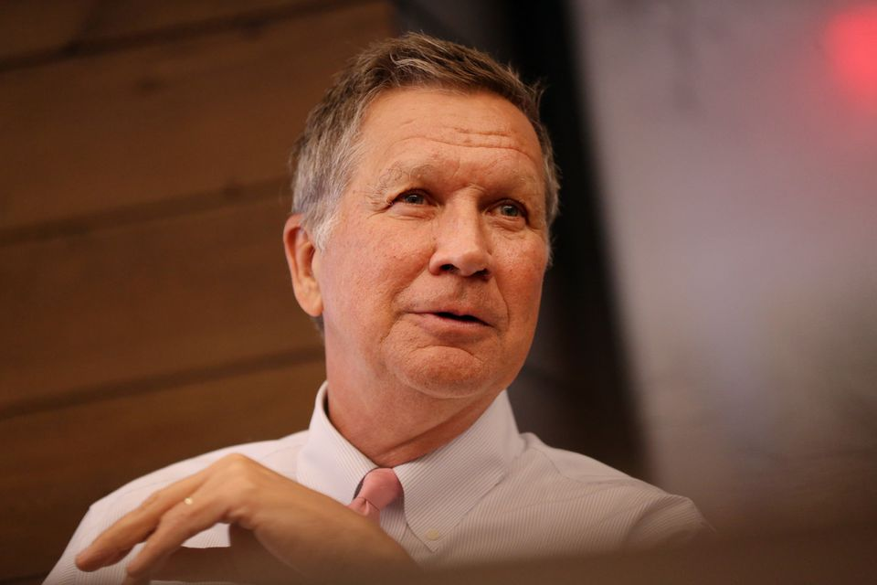 Governor John Kasich during an editorial board meeting at the Boston Globe on May 23, 2018.