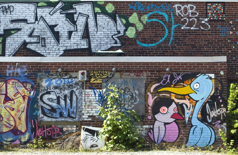 Artists covered the old Bartlett Yard bus depot with their works.