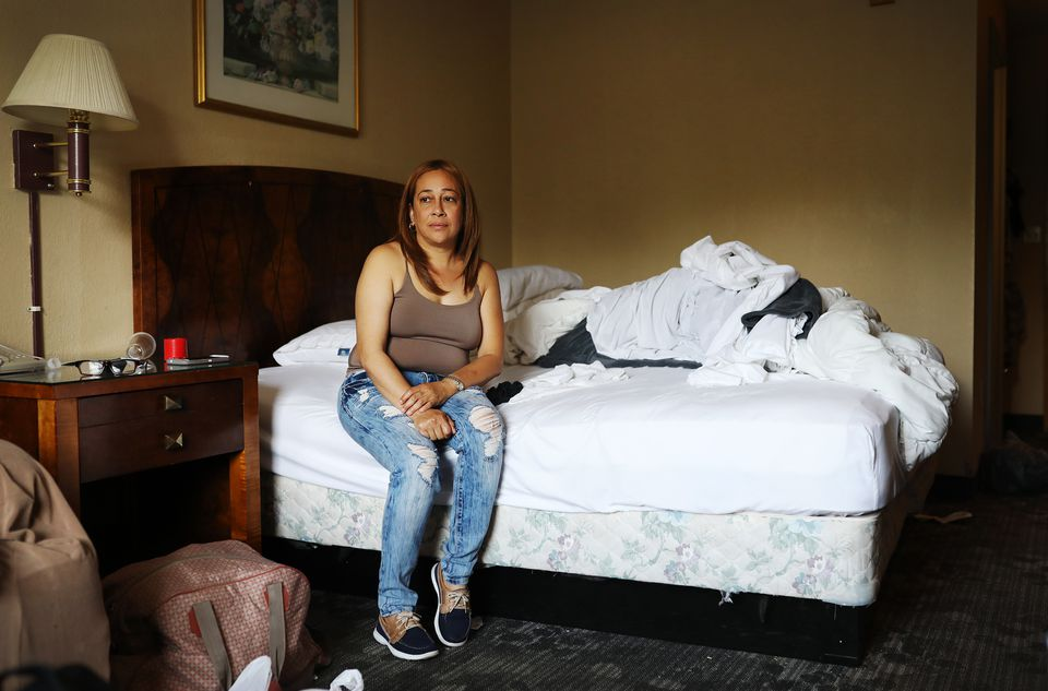 Mayra Garcia packed up her belongings onSunday after she was told to leave the New Bedford hotel where she had been staying for several months.