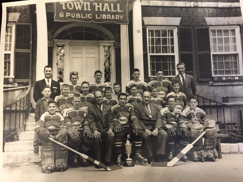 The Gananoque Bantam champs after the 1960-61 season. Doug Higgins is wearing the C, and the alternate captain on the left is Rick Eaton.