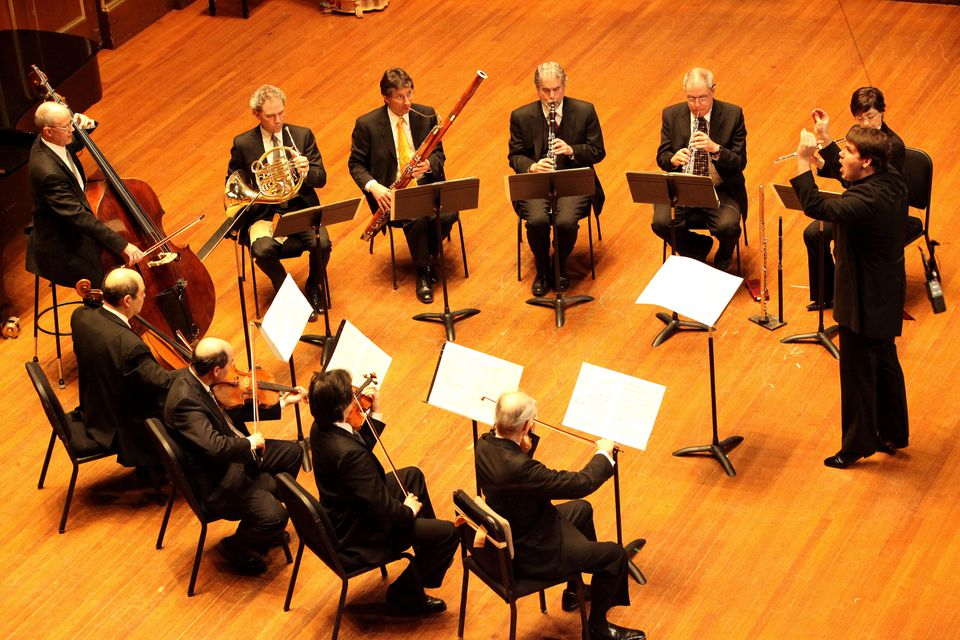 Andris Poga, BSO assistant conductor, and the Boston Symphony Chamber Players at Jordan Hall Sunday.