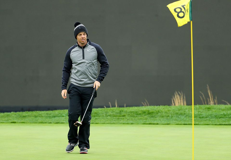 Rory McIlroy went with the stocking cap for his practice round Monday at Bethpage.