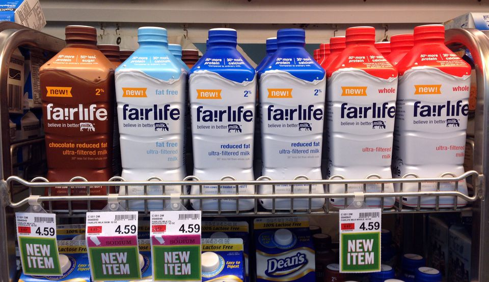 Fairlife milk products on display in the dairy section of an Indianapolis grocery store.
