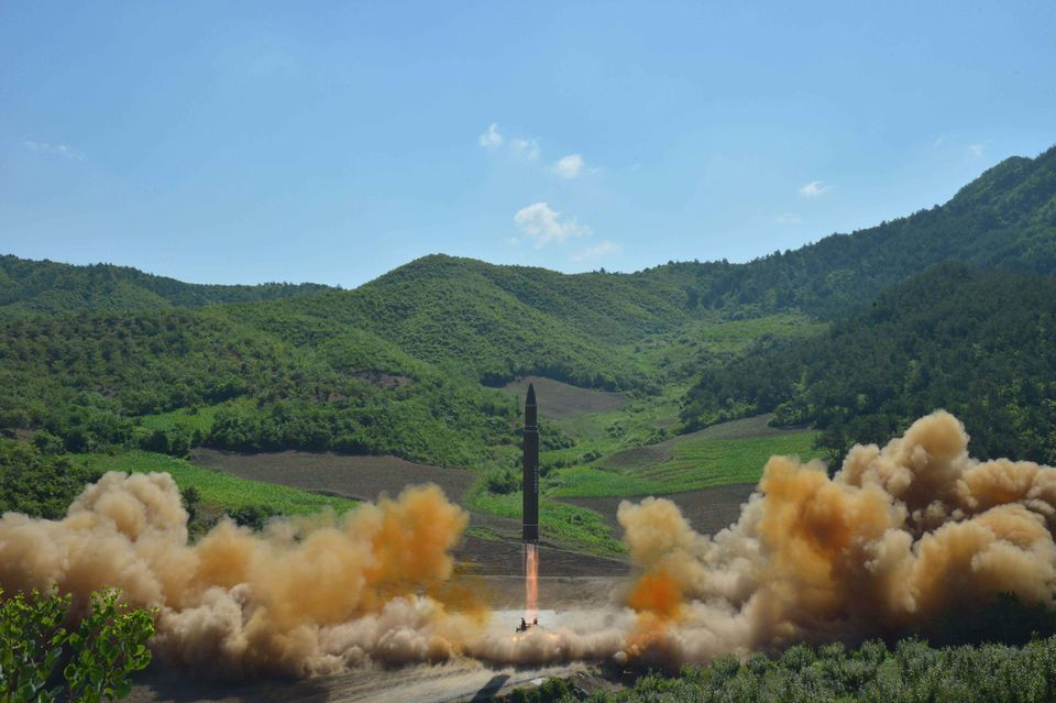 North Korean inter-continental ballistic rocket Hwasong-14 launched at an undisclosed location in North Korea in July.
