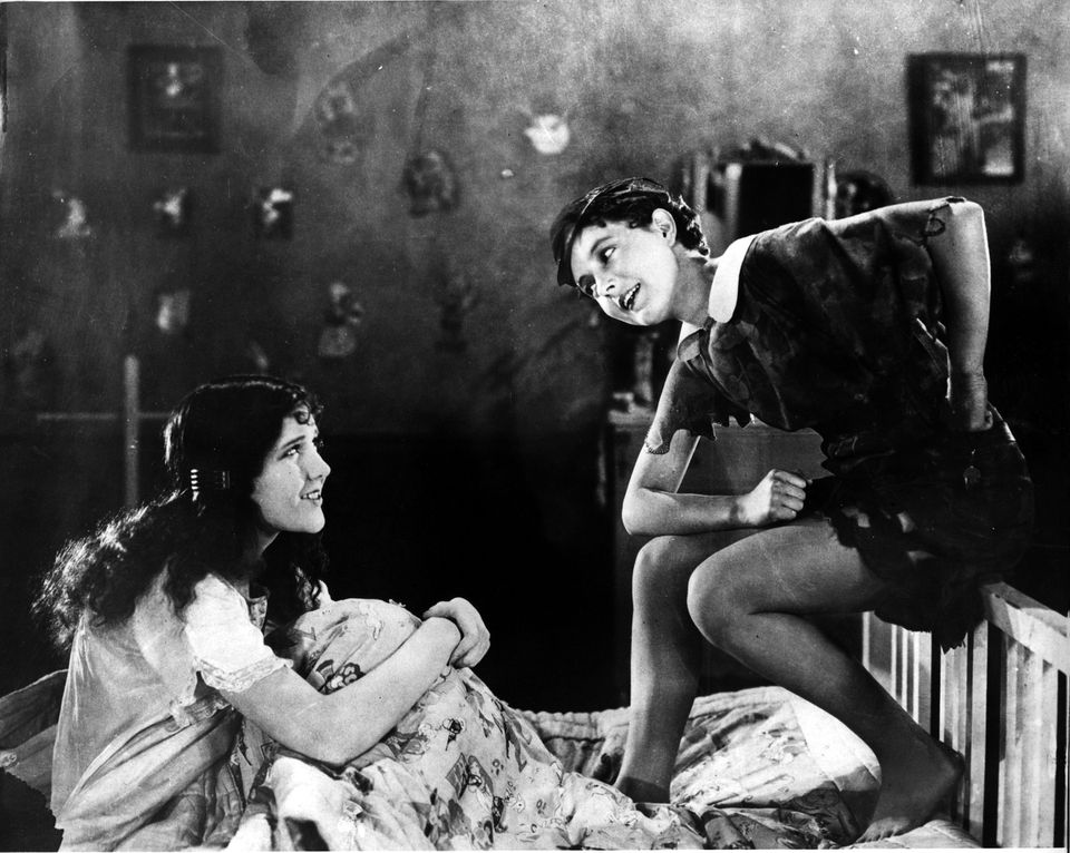 """Mary Brian (left) and Betty Bronson in """"Peter Pan."""""""