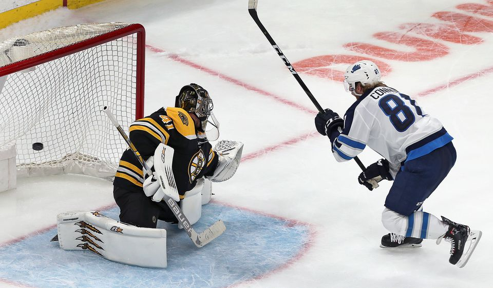 The Jets' Kyle Connor beats Bruins goalie Jaroslav Halak in the shootout.