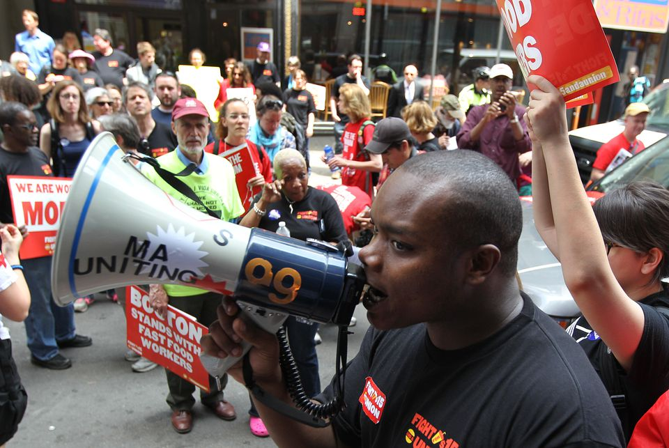 Darius Cephas, at a 2014 Boston rally for the Fight for  $15 movement.