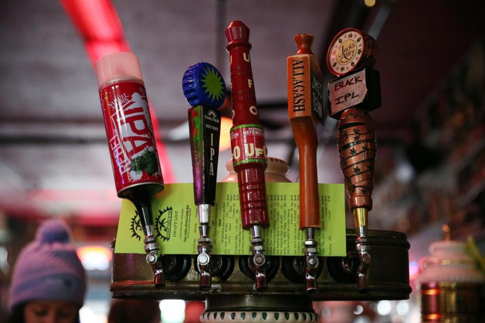 Beer taps at the Sunset Grill & Tap in Allston