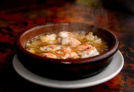 Brookline, MA 011309 Gambas al Ajillo(grilled shrimp) from Taberna de Haro in Brookline, Tuesday, January 13, 2009. (Globe Staff Photo/Wendy Maeda) Library Tag 01212009