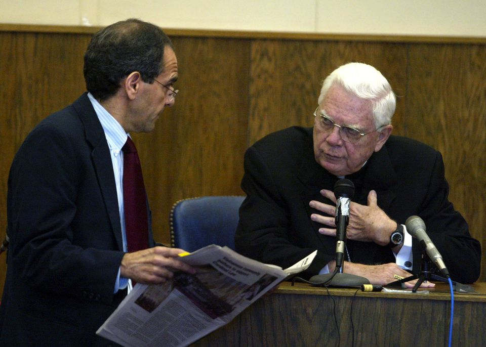 Bernard Cardinal Law appeared in Boston's Suffolk Superior Court in 2002.