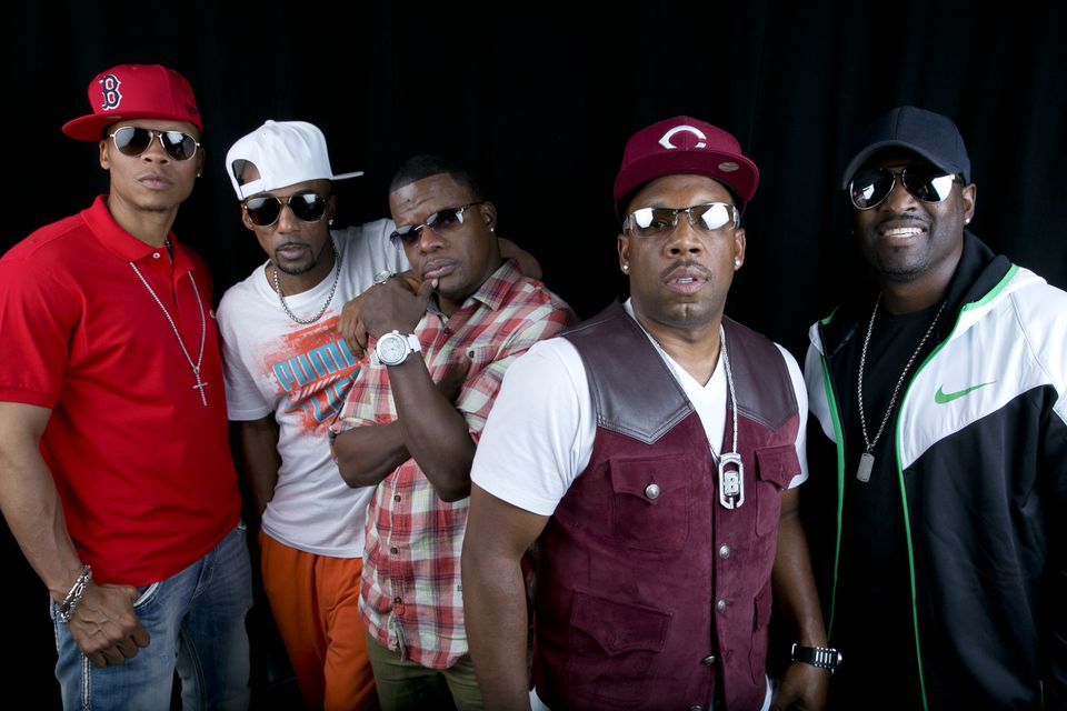From left: New Edition members Ralph Tresvant, Johnny Gill, Ronnie DeVoe, Michael Bivins and Ricky Bell.