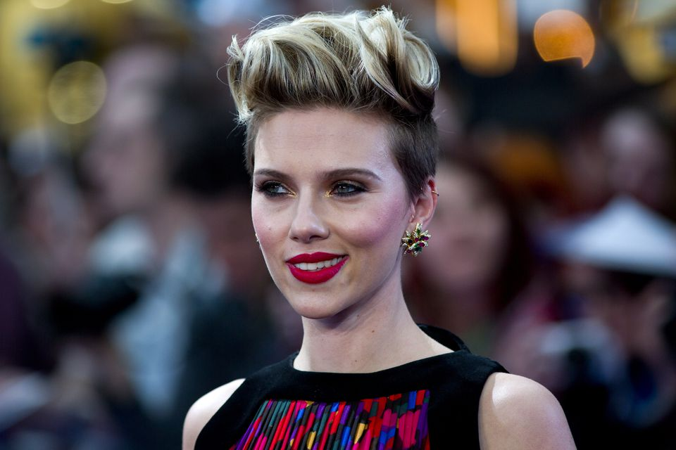 """Scarlett Johansson on the red carpet for the European premiere of """"Avengers: Age of Ultron"""" on April 21, 2015."""