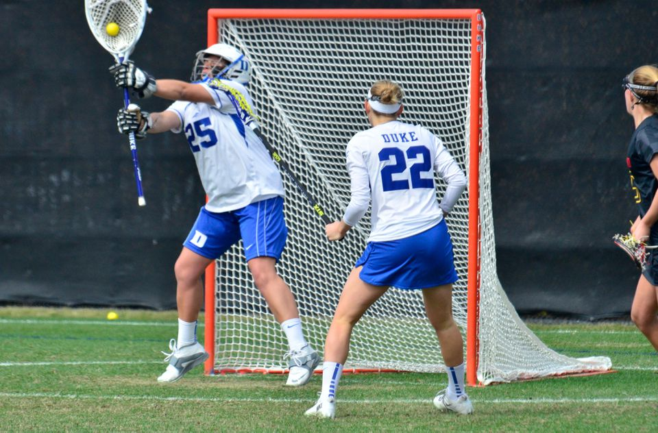 Kelsey Duryea is the starting goalie for the women's lacrosse team at Duke University.