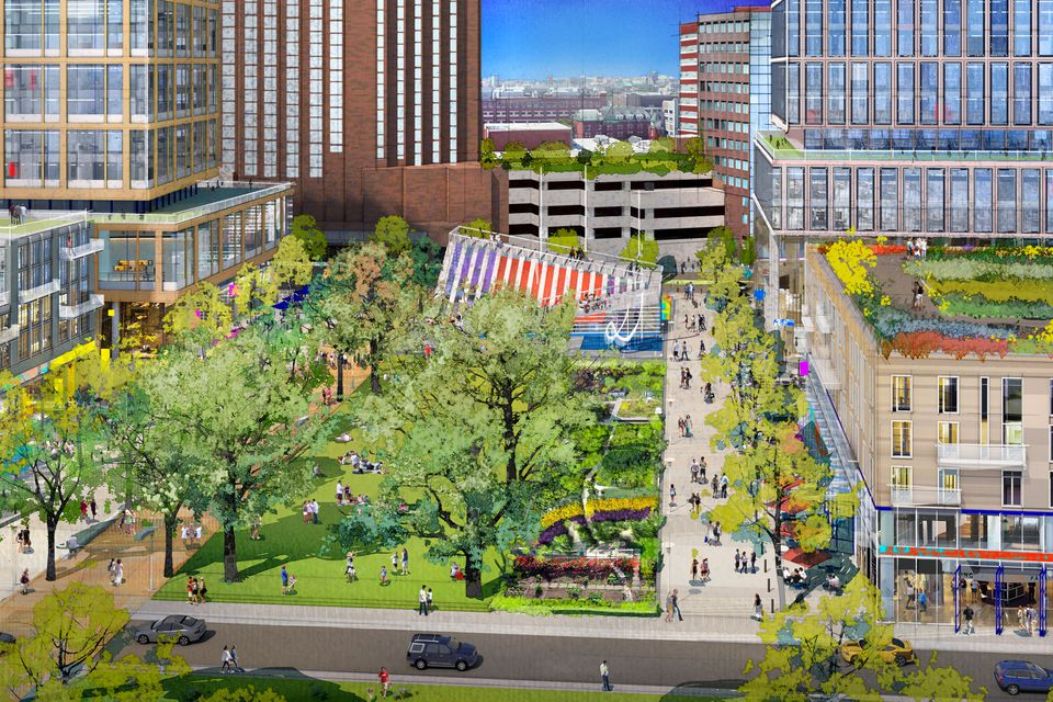 An architectural rendering shows the planned extension of Broad Canal Way into the Volpe Center site in Kendall Square, Cambridge. MIT on Wednesday filed zoning plans for the 14-acre parcel.