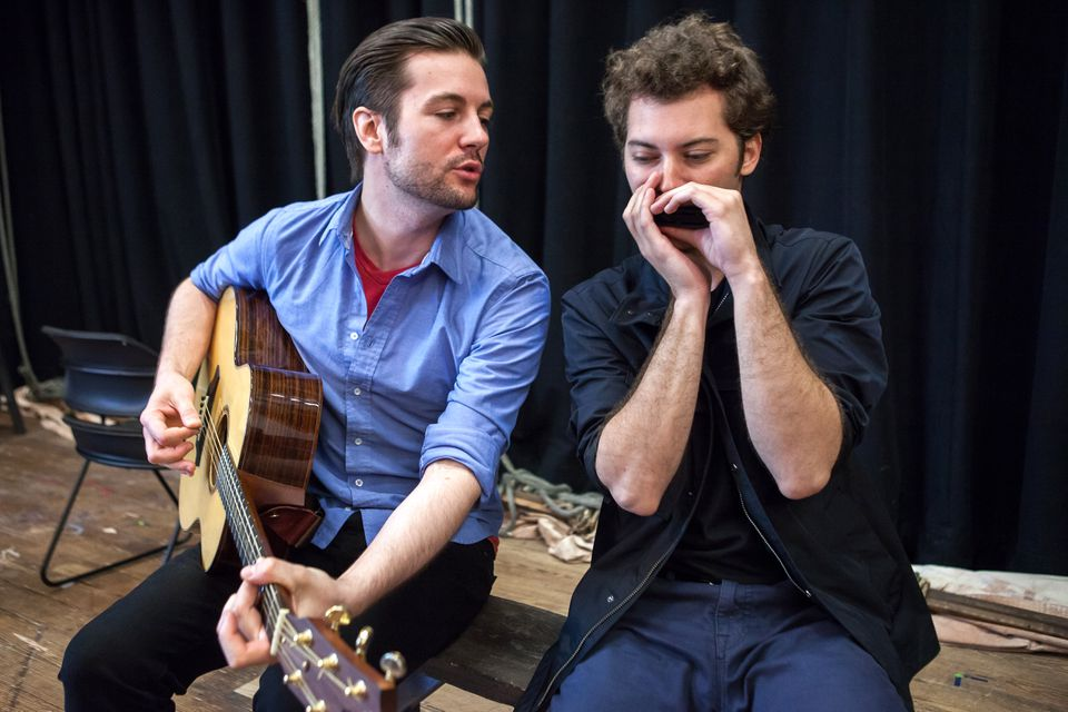 Peter Oyloe (left) plays Paul Clayton  Jared Weiss is Bob Dylan in the Vineyard Playhouse production.