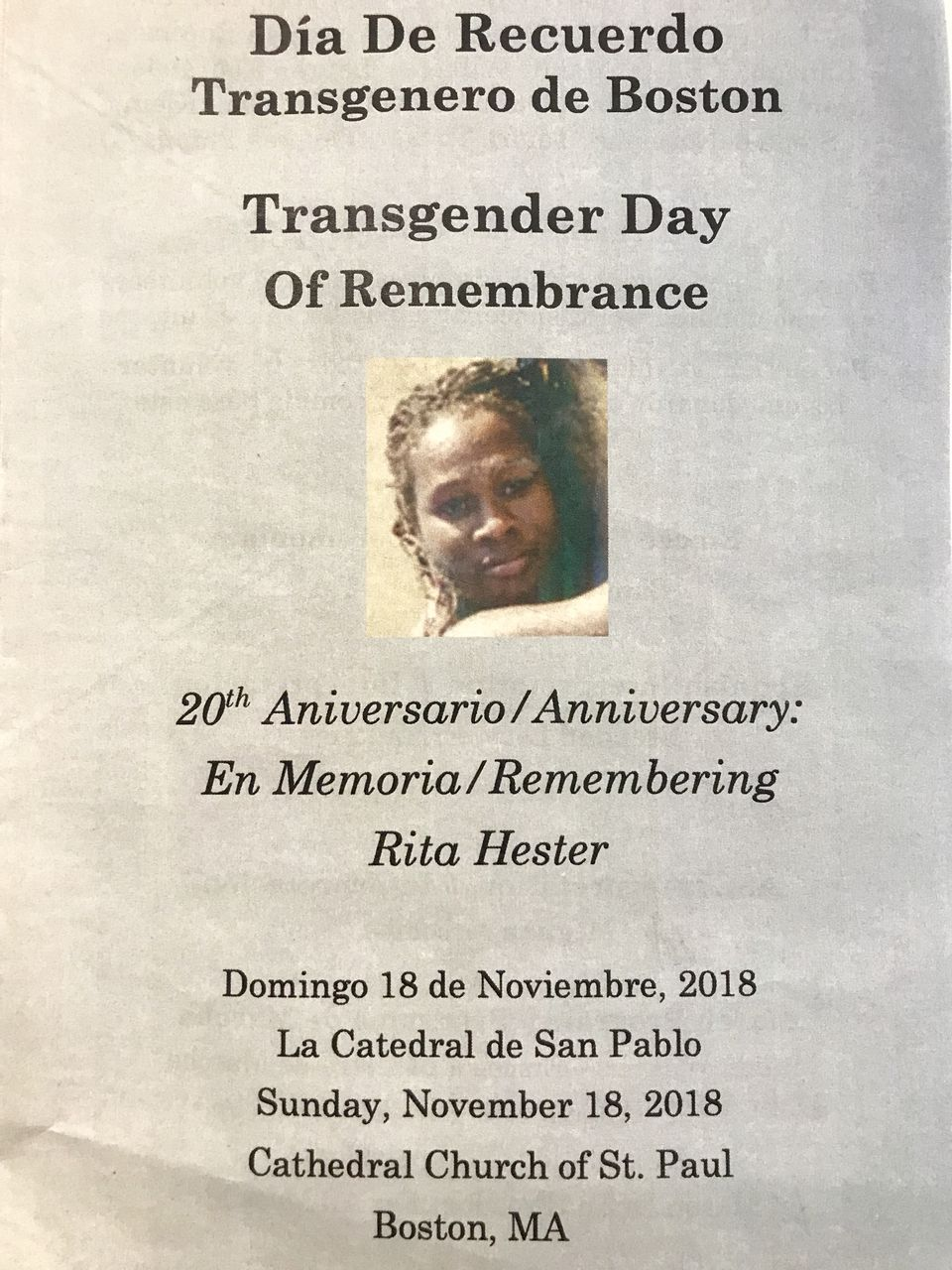 A pamphlet honoring Rita Hester.