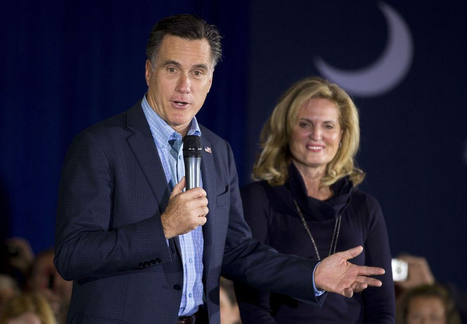 Mitt Romney and his wife, Ann, on the campaign trail in South Carolina following his victory last week in the Republican presidential primary in New Hampshire.