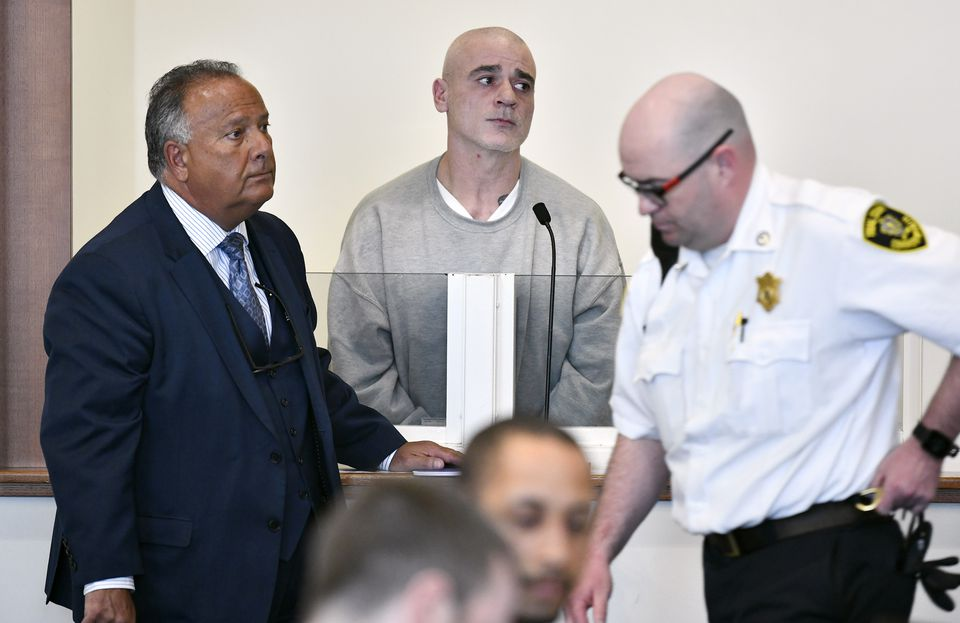 George Perrot (center) appeared beside his lawyer Thomas Torrisi (left) in Essex Superior Court in Salem on Monday.