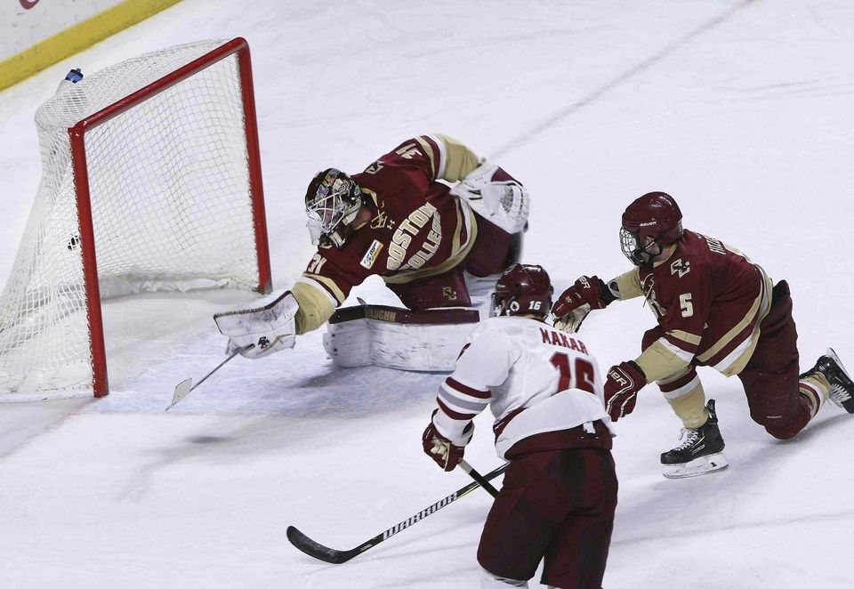 UMass's Cale Makar beat BC's Joseph Woll for a first-period goal for the Minutemen.