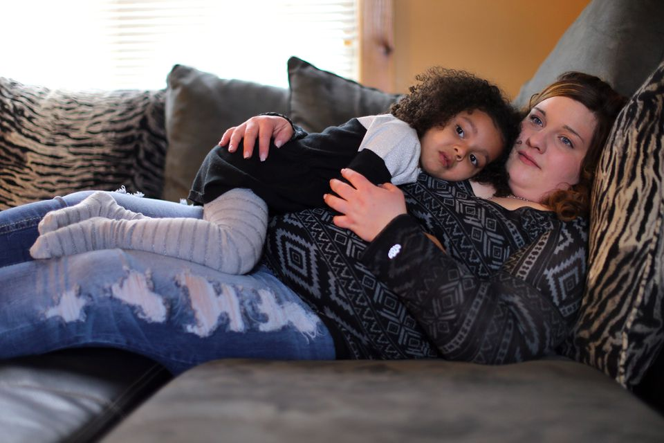 In St. Albans, Vt., Stephanie Robtoy, sober for six months, rested at home with her daughter, Aubriella, 3.