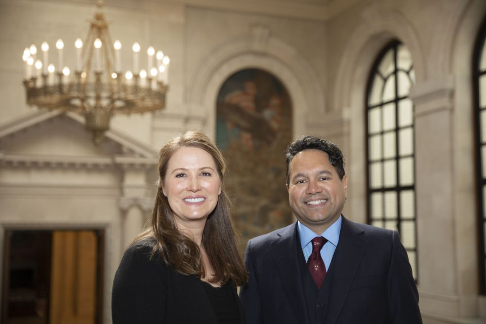 Stacey and David Goel, seen here at Harvard University's Widener Library, donated $100 million to Harvard.