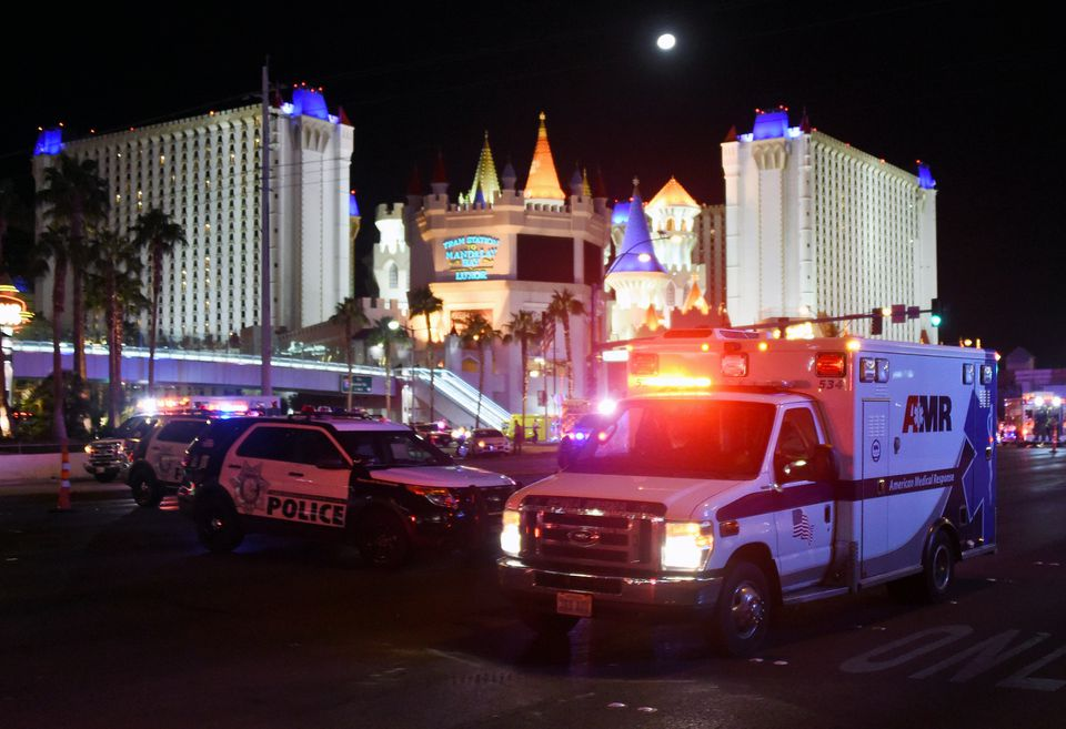 Las Vegas police stood guard along the streets after Sunday's shooting.