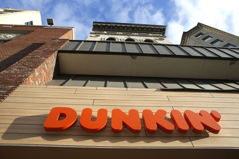 A new Dunkin' sign has gone up on Tremont Street in Boston.