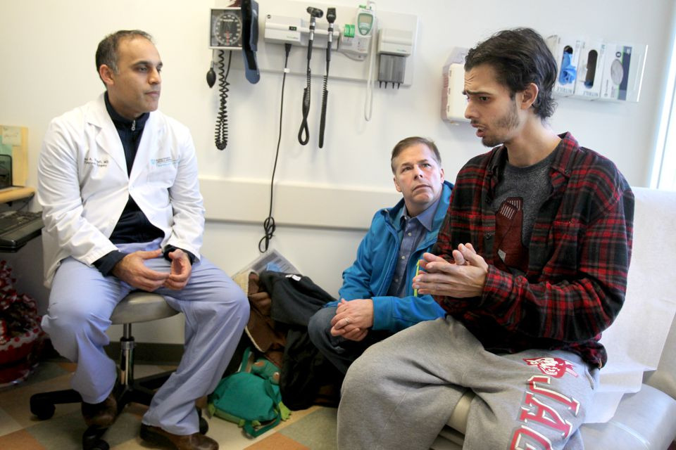 Ben Blake, 26, and his father, Duane Blake, met with Dr. Parsia A. Vagefi. In an experimental procedure, Ben Blake received a liver transplant from a patient with hepatitis C.