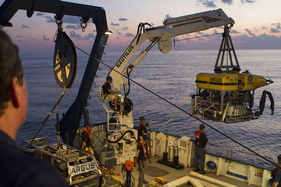 The crew of the E/V Nautilus recently lowered the remotely operated vehicle know as Hercules into the Pacific Ocean, as part of an effort to look for life along a submerged volcano off Hawaii.
