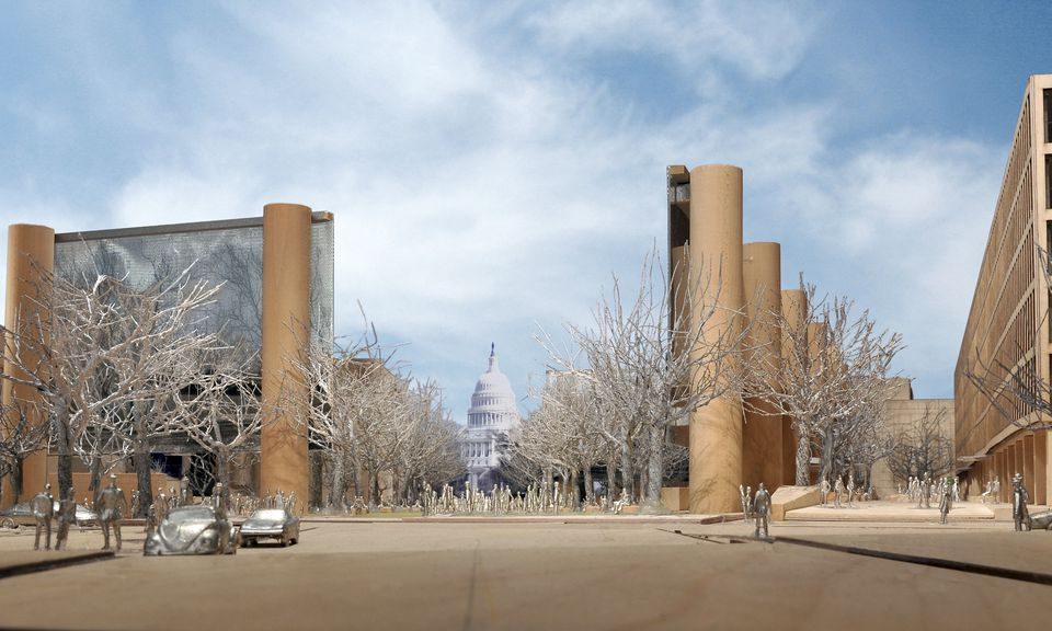An artist's rendering shows the US Capitol building as seen through the columns of the planned Eisenhower memorial.