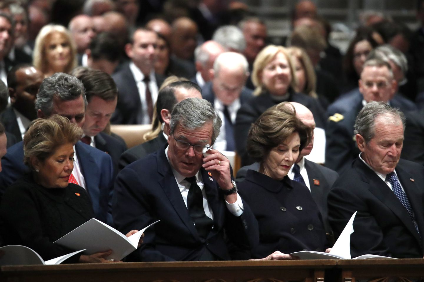 Columba Bush, former Florida Gov. Jeb Bush, former first lady Laura Bush and former President George W. Bush attend the state funeral.
