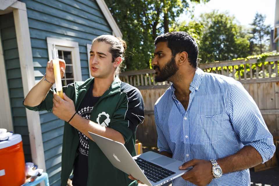 Teryn Citino (left) and Prakash Iyer of Ginkgo Bioworks worked on a beer containing yeast engineered in the company's lab in Boston.