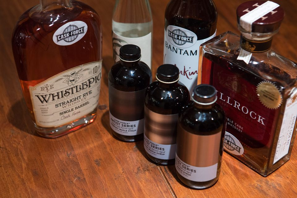Cask Force offers barrel-aged private selection liquors and maple syrup.