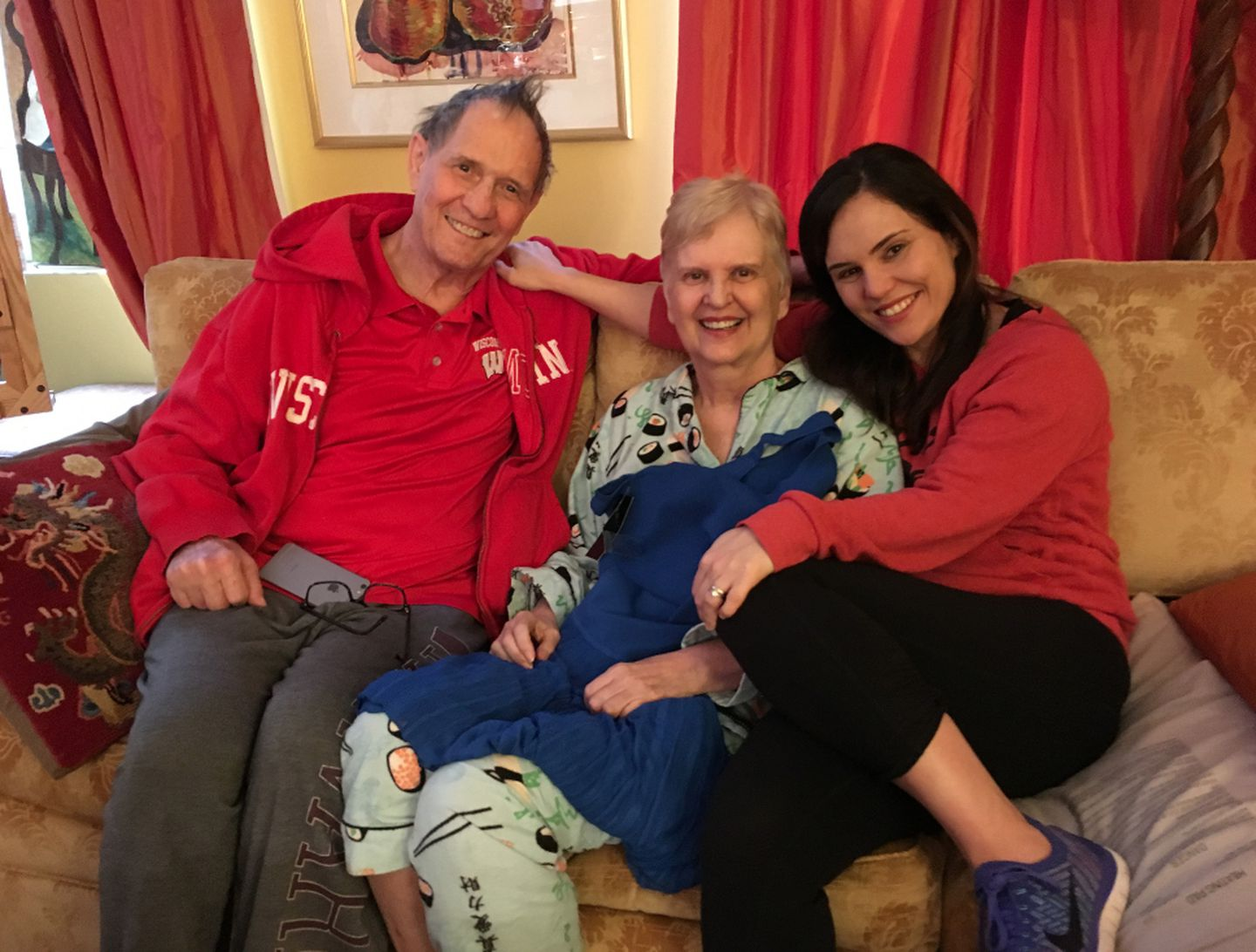 Laura at home with her parents, Bill and Georgia Levis, in their Manhattan apartment. Laura's mother passed away this July, after a long battle with cancer.