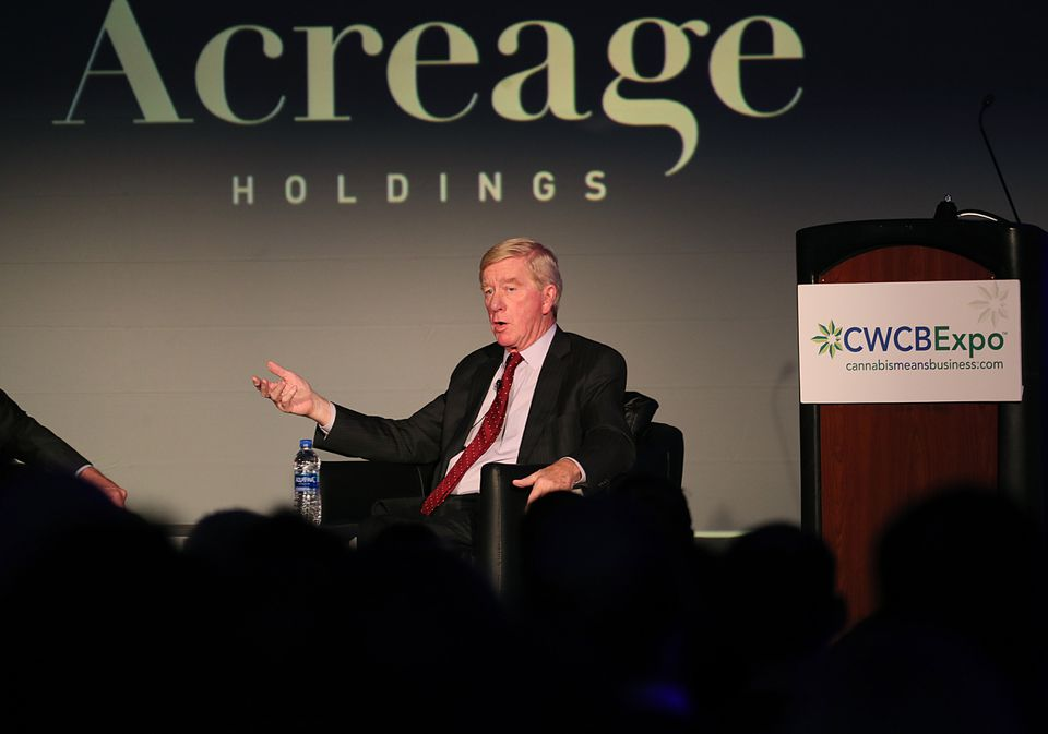 Former governor Bill Weld was a featured speaker Friday at the Cannabis World Congress and Business Exposition at the Hynes Convention Center in Boston.