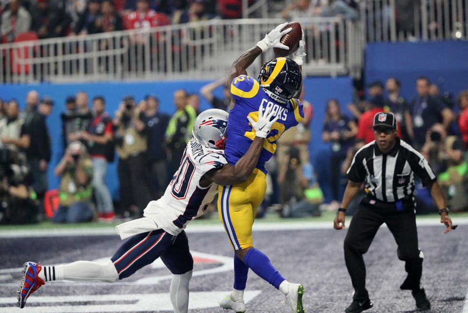 Jason McCourty broke up this pass intended for Rams receiver Brandin Cooks in the end zone during the third quarter of Super Bowl LIII.