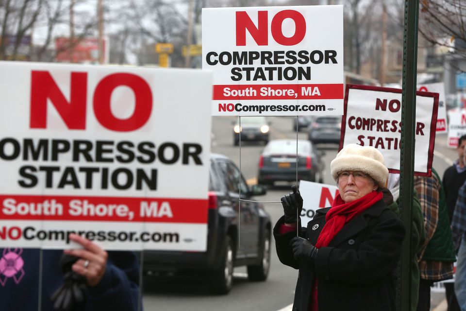 Protesters last week included Regina Potter of North Weymouth