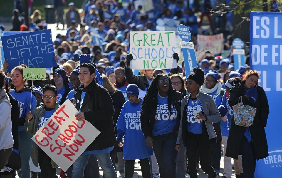 Charter school backers rallied on Boston Common by the State House.