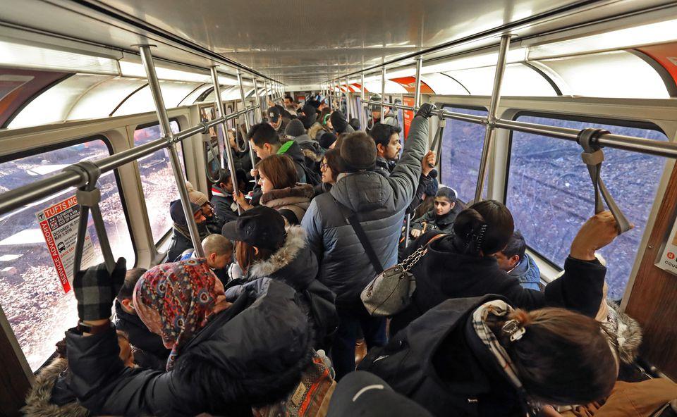 The Orange Line morning commute on the MBTA heading inbound.