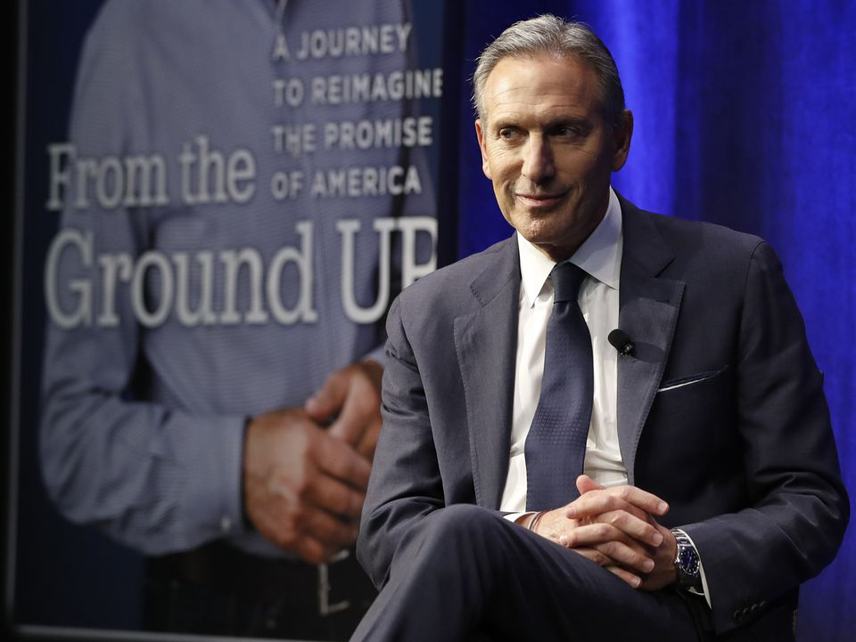 Former Starbucks CEO and chairman Howard Schultz looked out at the audience during a book promotion tour Monday in New York.