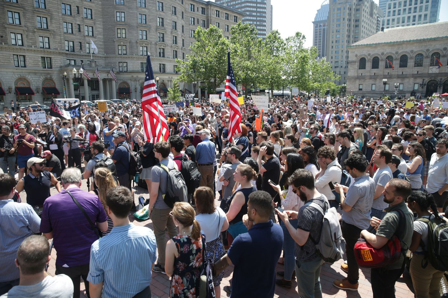 Wayfair employees and others gathered at a rally at Copley Square.