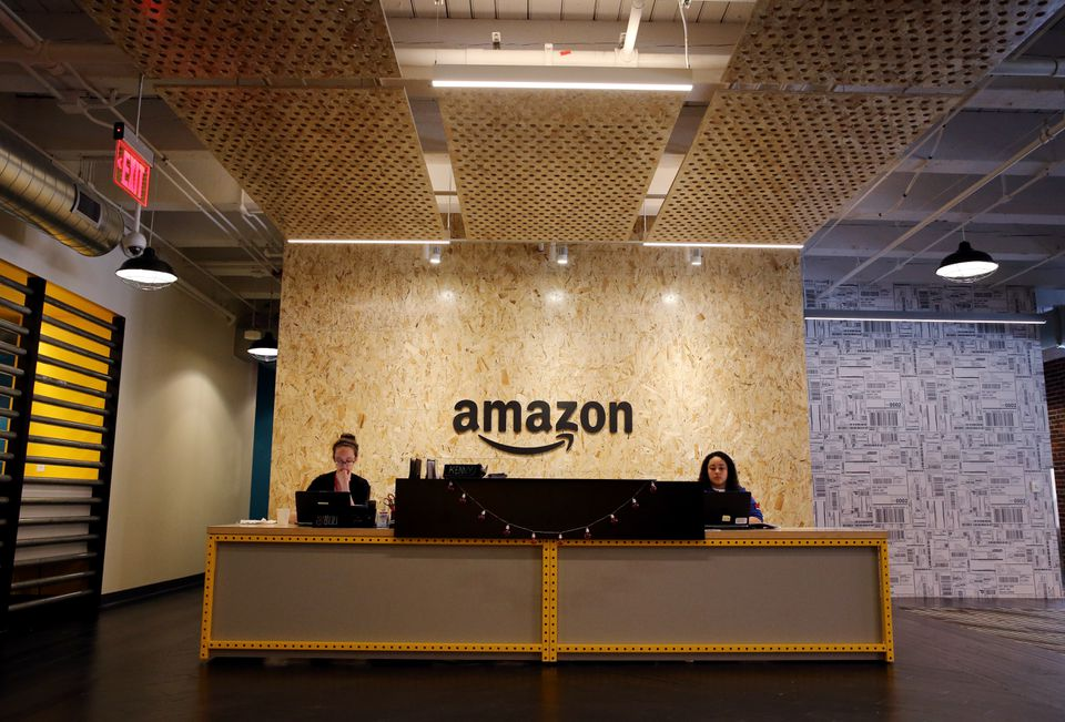 The lobby of Amazon's Fort Point office, on Melcher Street in Boston.