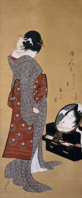 """The MFA's Hokusai show includes Woman Looking at """"Herself in a Mirror,"""" from his collection."""