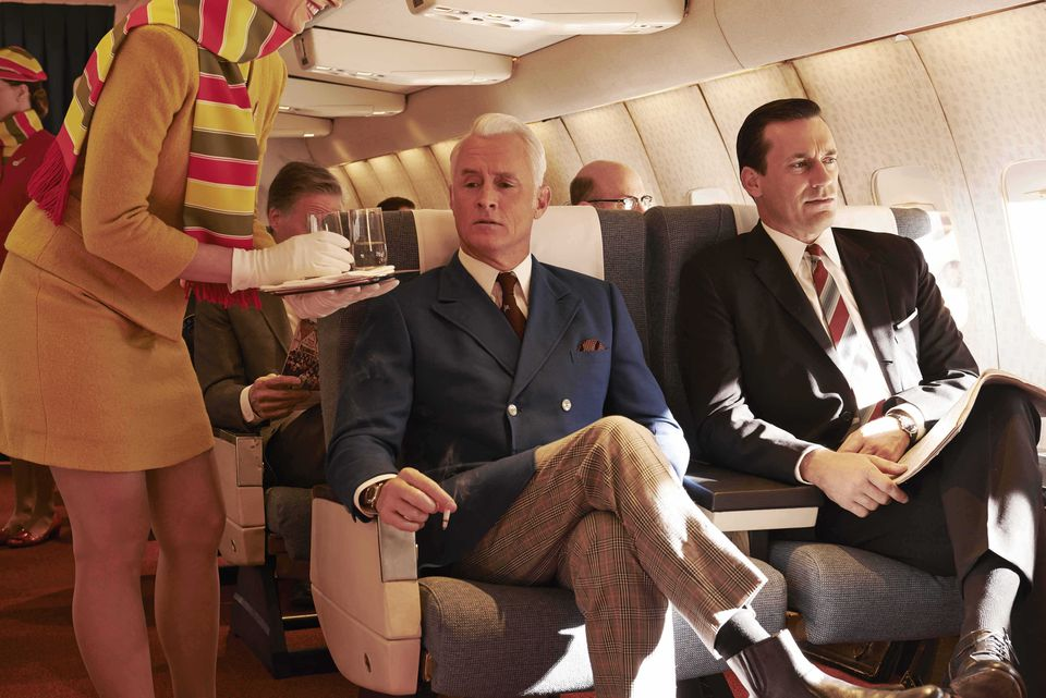 "The era has been romanticized in television series such as ""Mad Men"" (pictured) and movies such as ""Catch Me If You Can."""