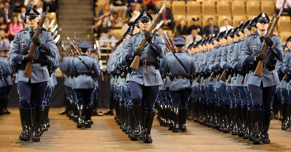 Graduates drilled during the 82nd Recruit Massachusetts State Police graduation in April.