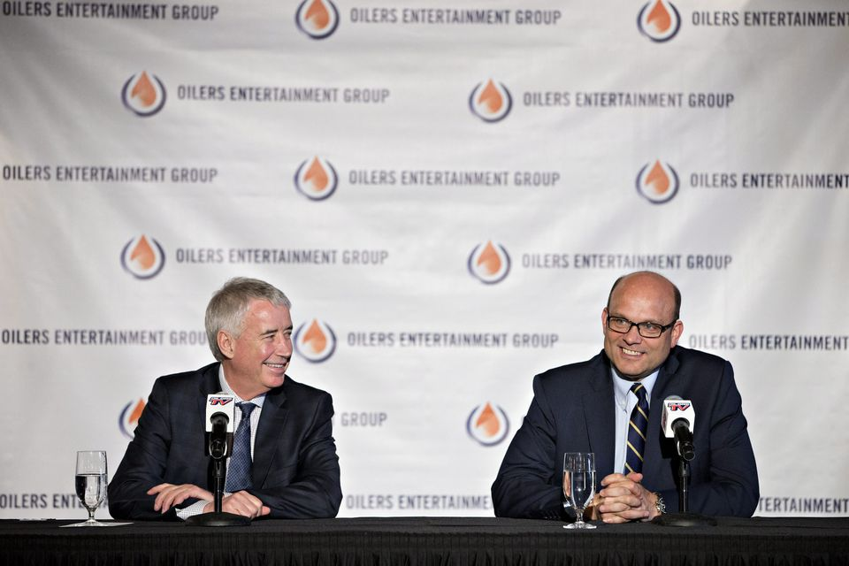 Bob Nicholson (left) hired Peter Chiarelli as president and GM of the Oilers after Chiarelli was dumped by the Bruins.