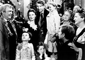 "James Stewart (center) in ""It's a Wonderful Life."""
